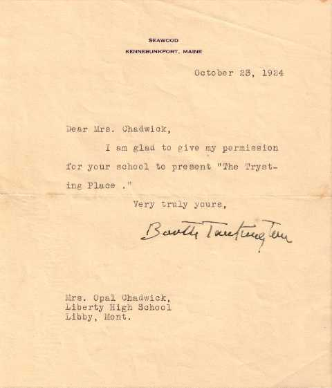 A letter from Booth Tarkington to my great-grandmother